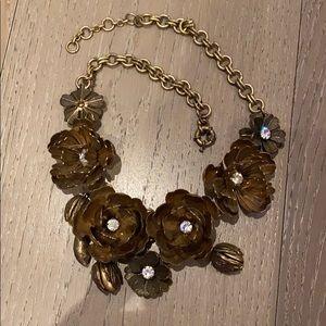 JCrew Gold Flower Statement Necklace